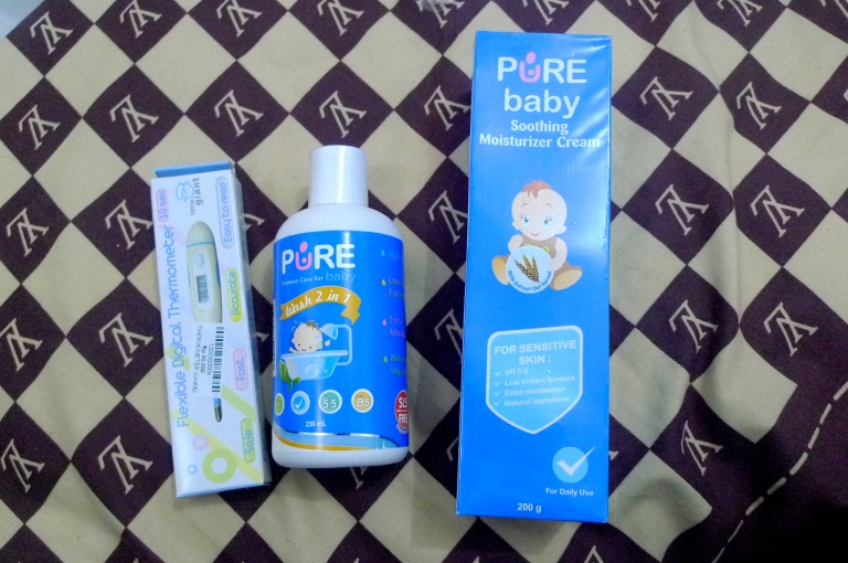 Thermometer Digital - IDR 50.000 / Sabun Pure Baby 2 in 1 - IDR 27.500 / Pure Baby Moisturizer Cream  - IDR 113.000